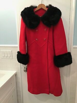 Vintage 50s 60s Swing Coat Genuine Fur Collar Red Wool Hollywood Glam Rockabilly