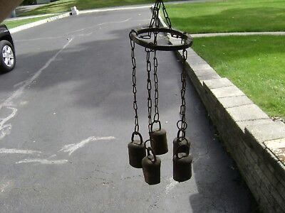 Vintage Antique 5 Bell  Folk Art Wind Chime Bells - Handmade  blacksmith forged