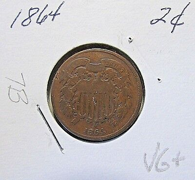 Nicer...1864  2 Cent Piece...VG+ Details***Civil War Date***(7B)