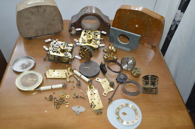 Antique Vintage Clock Movements & Parts Spares Or Repairs Job Lot