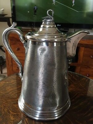 huge early victorian silver plated water jug presented to Whenham Lake Ice co.