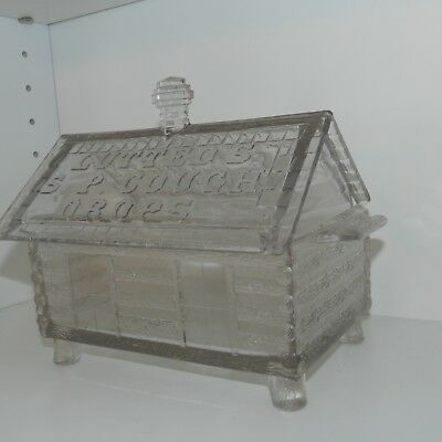 Antique General Store Pharmacy Display Glass Jar Cabin Lutteds Cough Drops Candy