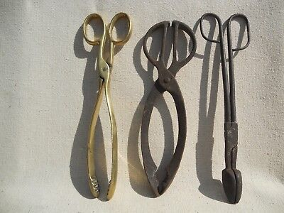 COLLECTION of 3 Vintage Antique COAL LOG FIRE TONGS SCISSORS Brass and steel