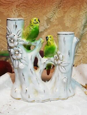 Vintage Porcelain Spill vase, with 2 Parakeets on boughs.