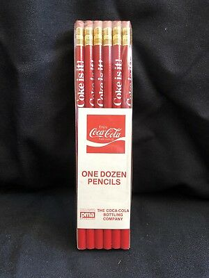 """Vintage Coca-Cola Advertising Pencils Factory Sealed One Dozen Red """"Coke is it!"""""""