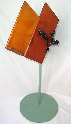 Antique 1886 Lambie Co. NY Folding, Swiveling Cast Iron & Oak Book / Music Stand