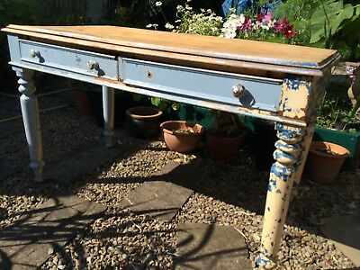 Victorian Pine Kitchen Table. Console. Shabby Chic . Antique. Rustic. Farmhouse.