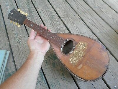 antique mandolin for parts or repair; hump-back slats, fine inlay, & early keys