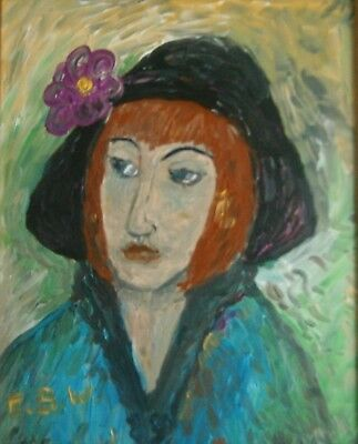 "An Original Oil Portrait Of ""woman With A Flower In Her Hat"" - Signed"