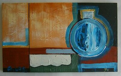 "Abstract Oil Painting  ""jug And Geometric Shapes"" - Signed"