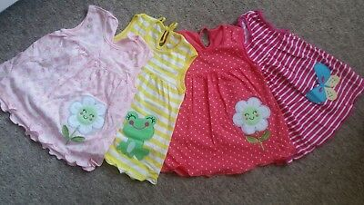 4 x Baby Girl Embroidered Dresses Age Size 6 to 9 months UK