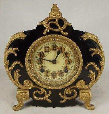 ANTIQUE New Haven mantel clock METAL black gold WORKS shelf USA wind 1900's RARE