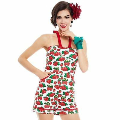 Women Suspenders Summer Shorts Pocket Pin Up Strawberry Print Party Jumpsuit