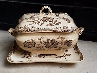 **Ant Brown Aesthetic Transferware J.F. WILEMAN 3 pc Soup Tureen Chinese Plant**