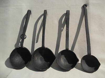 Collection of 4 Hand Forged Pouring Ladles VINTAGE COLLECTABLE IRON LADLES