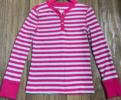 Faded Glory Girl's Pink & Grey Striped Long-Sleeve Ribbed Shirt Size XS (4/5)