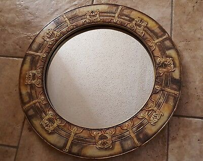 Vintage Egyptian Round Mirror 24 Inch Resin Hand Painted EGYPT