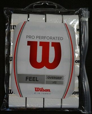 NEW Wilson Pro Overgrip Perforated 12 Pack - White With Waterproof Storage Bag