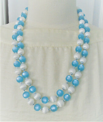 Blue and White Double Strand Plastic Bead Necklace 25 in.