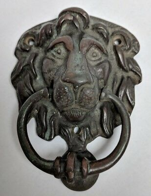 Vintage Brass Lion Head Door Knocker Lots of Patina!!!