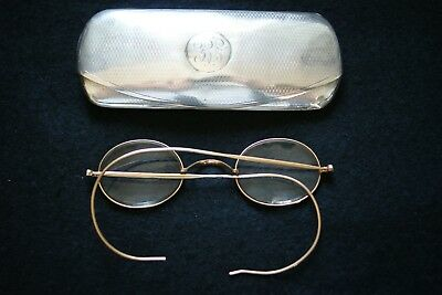 Rare Solid Sterling Silver Vintage Spectacles Case & 'gold' Wire Framed Specs