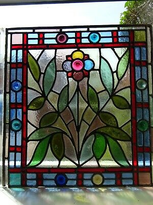 Original Arts and Crafts  stained glass panel