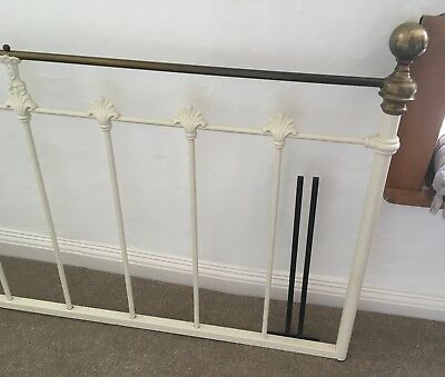 And So To Bed Victorian Vintage Style Double Metal Bed Headboard cream/brass