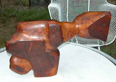 Rare PETER KRASNOW California MODERNIST Wood SCULPTURE c.1930s ART Signed EX