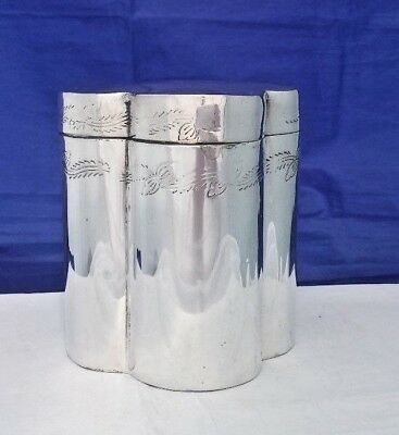 VTG Silver Plate Chinese Tea Caddy Quatrefoil 4 Lobed Design Foliage Etching