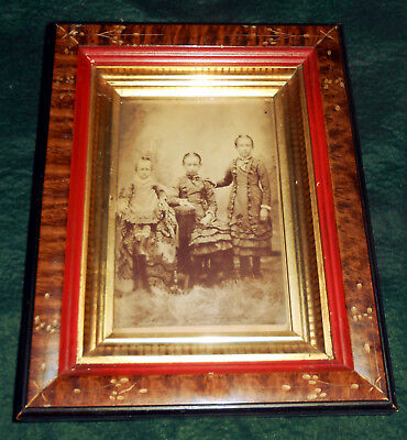 Antique Victorian 1870s or 1880s Eastlake Frame w/ Cabinet Card Photograph Girls