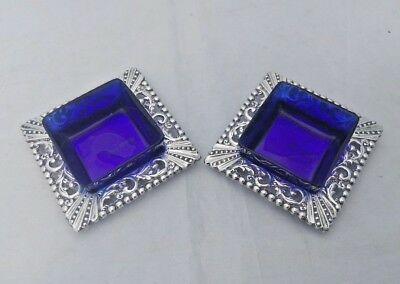 Pair of Edwardian Square Open Silver Salts Blue Liners W H Leather, Chester 1902