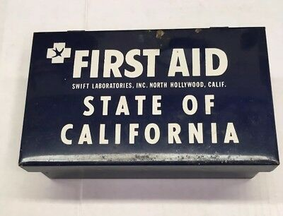 Vintage State Of California First Aid Kit Made By Swift, With Snake Bite Kit