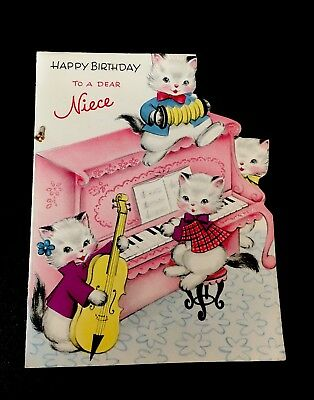 Vintage Happy Birthday NIECE Forget-Me-Not Musical Cats Anthropomorphic - Used