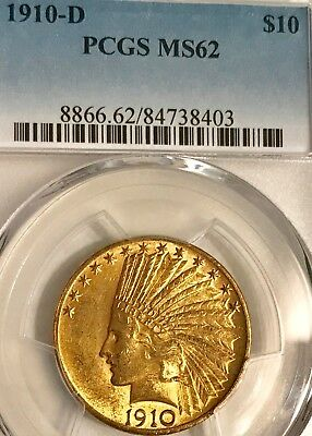 1910-D Gold Eagle, $10 Gold Indian PCGS MS 62