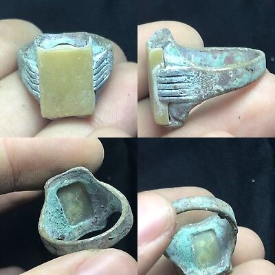 Lovely Ancient Roman Bronze Ring With Rare Stone