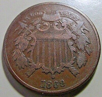 Nicer...1869  2 Cent Piece***F/F+ Or Better Details***Better Date