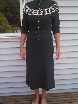 Vintage 1940s - 50s Woman's Woolen Sweater & Skirt Set - Size 8; maybe 10   #2