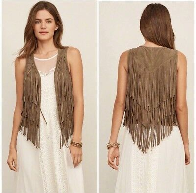 Abercrombie & Fitch Faux Suede Fringe Vest Brown Size Small