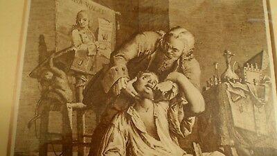 2 antique print copperplate engravings 1780s IL CAVADENTI  & THE LONDON DENTIST