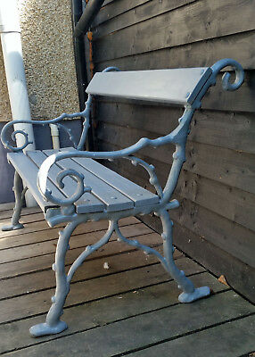 Victorian Garden Bench (with cast iron ends circa 1880) two seater in grey.