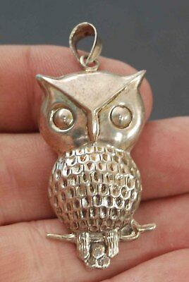Vintage Mid Century Modern Sterling Owl Pendant Necklace Charm