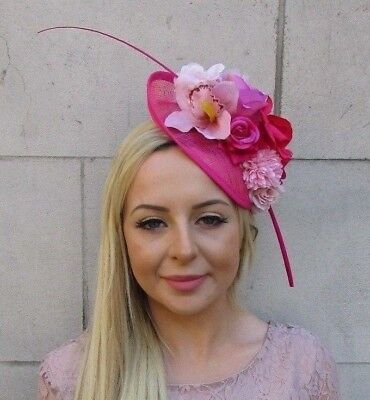 Hot Blush Light Pink Rose Flower Feather Sinamay Disc Saucer Hat Fascinator 5975