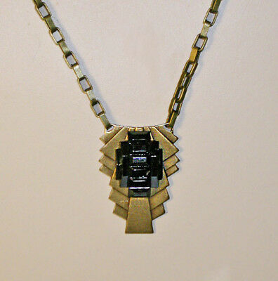 ~CLASSIC VTG 1920s ART DECO STEPPED Jet BEVELED ART GLASS NECKLACE!~~