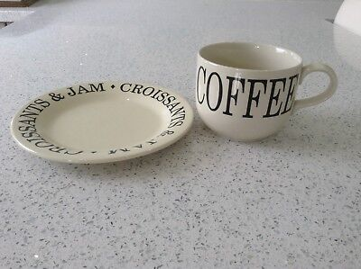 Breakfast cup / mug & plate set, pre-owned but never used, good condition