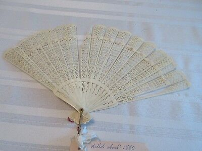Antique Colorful Ivory Carved Hand Fan Dated About 1880
