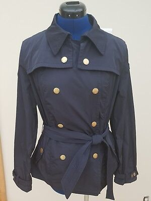 Armani jeans navy blue summer mac coat double breasted size 12 RRP£235