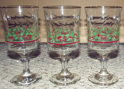 3 1985 Arby's Christmas Holiday Stemmed Glasses Red & Green Holly Pattern