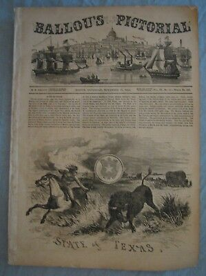 Original Ballou's Pictorial Drawing Room Companion Newspaper 1855 Texas on Front