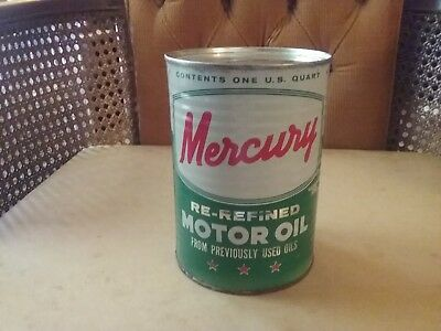 Vintage Gas & Oil 1 Quart Mercury Motor Oil Coin Bank Can