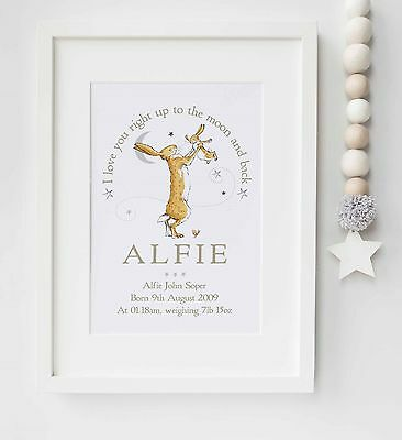 Guess How Much I Love You Personalised Quote Picture Nursery Print UNFRAMED